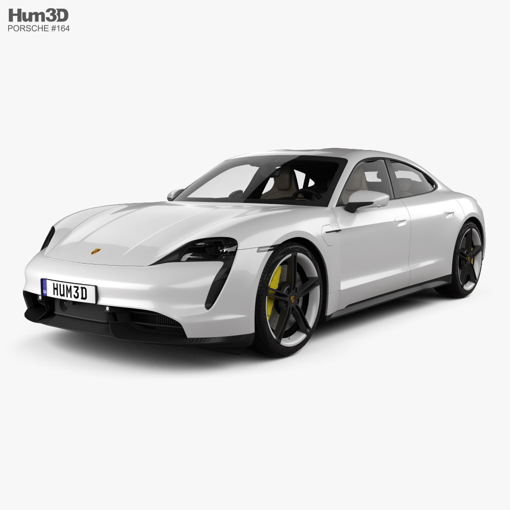 3D model of Porsche Taycan Turbo S with HQ interior 2020