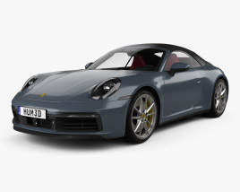 3D model of Porsche 911 Carrera 4S cabriolet with HQ interior 2019