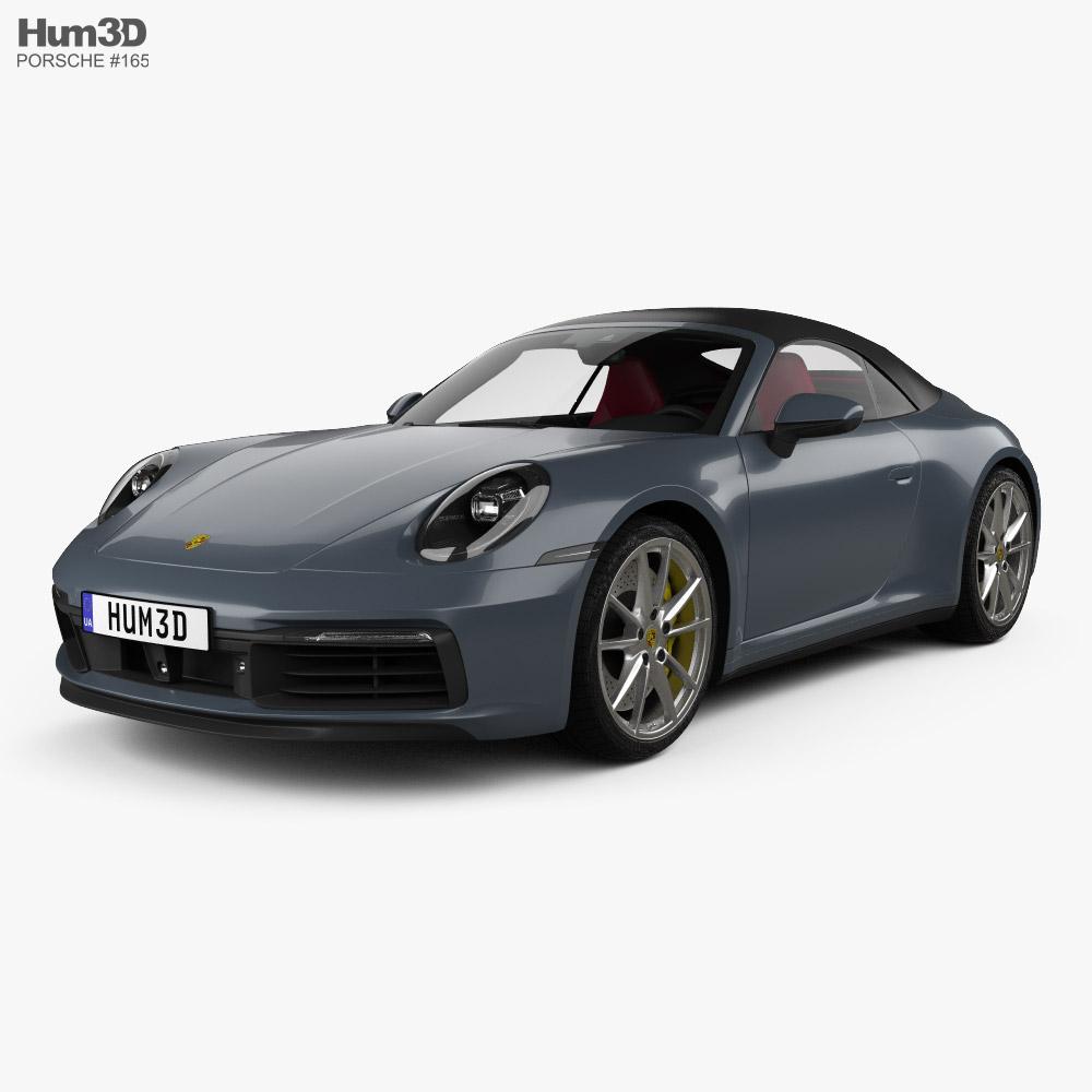3D model of Porsche 911 Carrera 4S cabriolet with HQ interior 2019