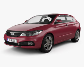 3D model of Qoros 3 hatchback 2014