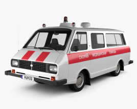 3D model of RAF 2203 Latvija Ambulance 1975