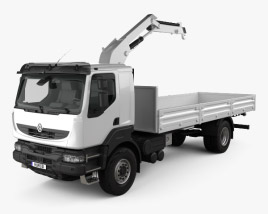 3D model of Renault Kerax Flatbed Crane 2011