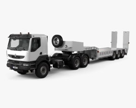 3D model of Renault Kerax Tractor Platform Trailer 2011