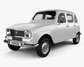 3D model of Renault 4 (R4) hatchback 1974