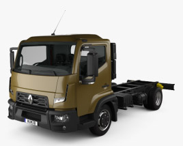 3D model of Renault D 7.5 Chassis Truck with HQ interior 2013