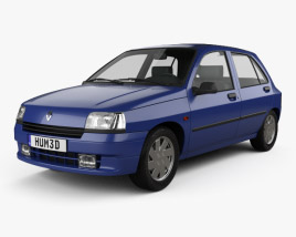3D model of Renault Clio 5-door hatchback 1990