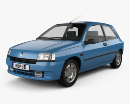 3D model of Renault Clio 3-door hatchback 1990
