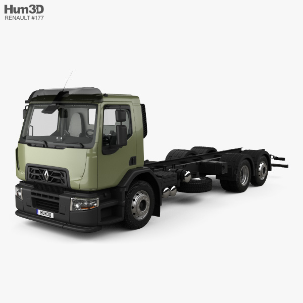 3D model of Renault D Wide Chassis Truck 3-axis with HQ interior 2013