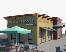 3D model of Starbucks Restaurant 02