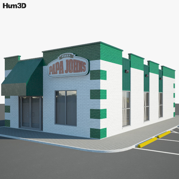 Papa John's Pizza Restaurant 02 3D model