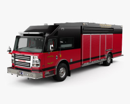 3D model of Rosenbauer Command Walk-In Rescue Fire Truck with HQ interior 2017