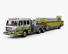 3D model of Rosenbauer Tractor Drawn Aerial Fire Truck with Trailer 2017