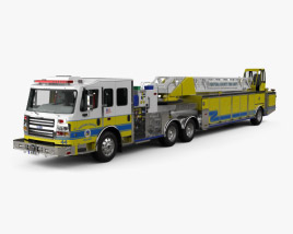 3D model of Rosenbauer Tractor Drawn Aerial Fire Truck with Trailer with HQ interior 2017