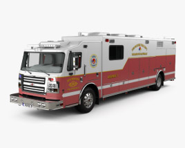 3D model of Rosenbauer Walk In Rescue Fire Truck with HQ interior 2017
