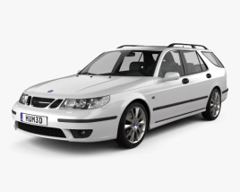 3D model of Saab 9-5 Aero wagon 2005