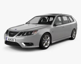 3D model of Saab 9-3 Sport Combi 2008
