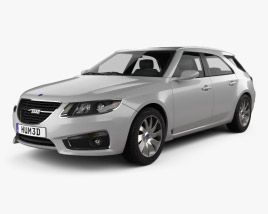 3D model of Saab 9-5 Sport Combi 2009