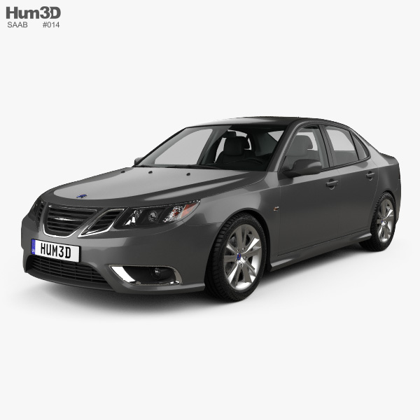 3D model of Saab 9-3 Sport Sedan with HQ interior 2008