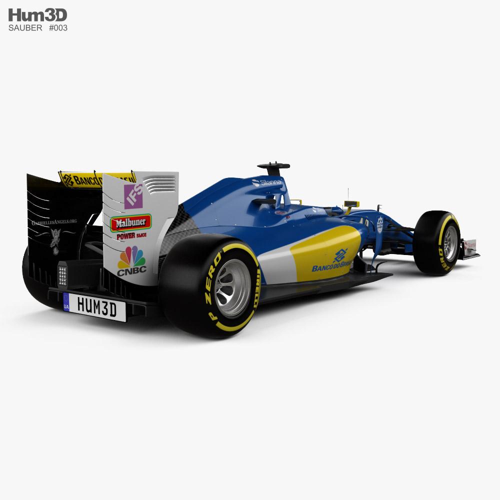 Sauber C35 F1 2016 3d model back view