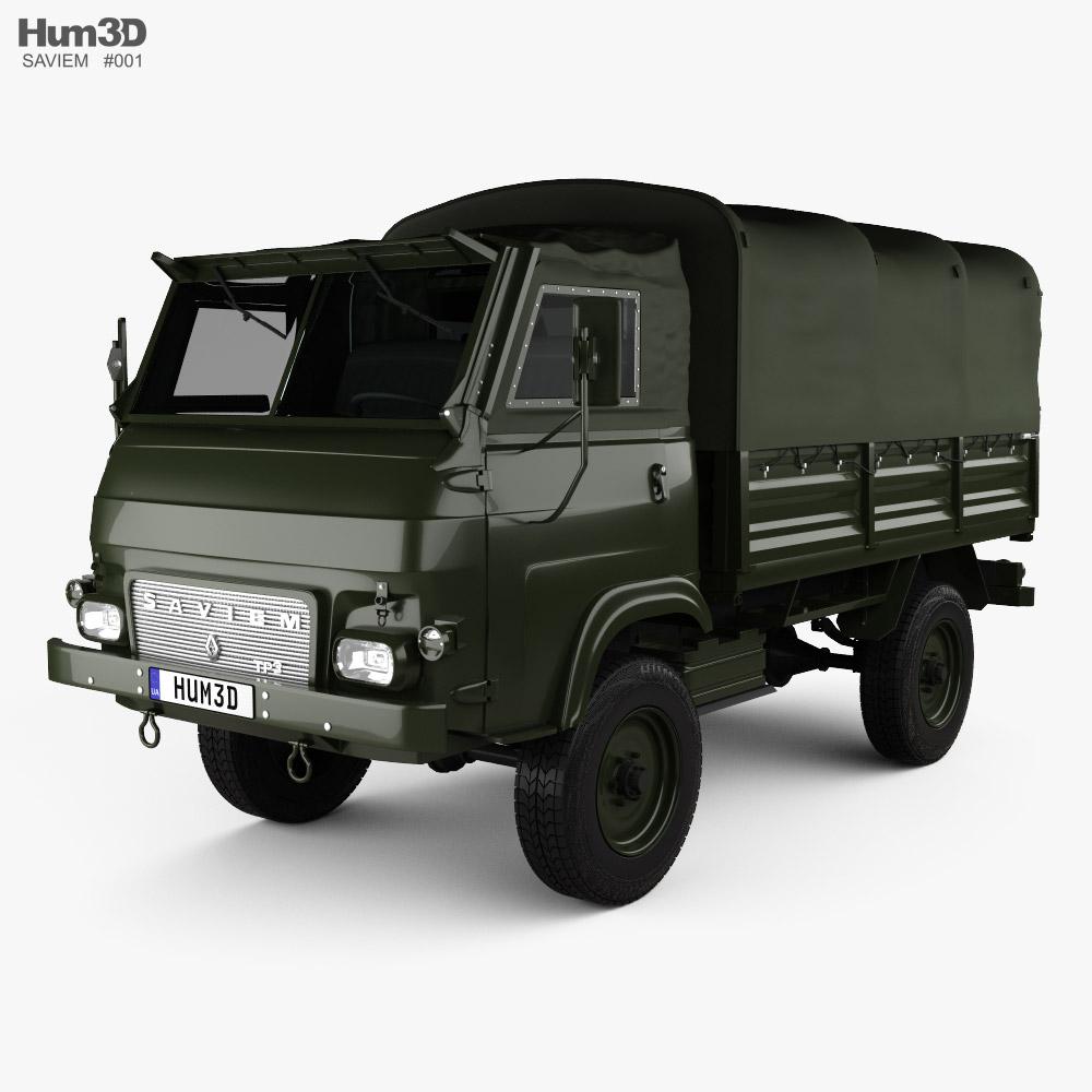 Saviem TP3 Flatbed Truck 1980 3D model