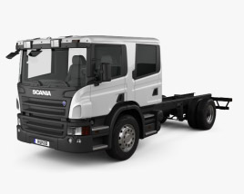 3D model of Scania P310 Crew Cab Chassis Truck 2005