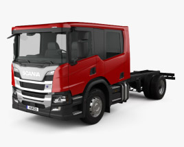 3D model of Scania P Crew Cab CP28 Chassis Truck 2017