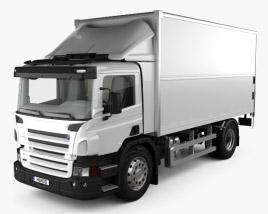 3D model of Scania P Box Truck with HQ interior 2011