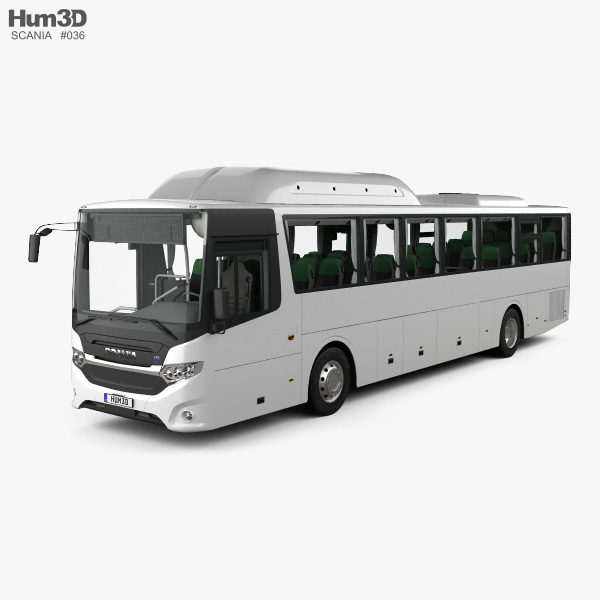 3D model of Scania Interlink Bus with HQ interior 2015