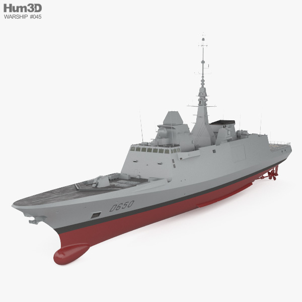 French frigate Aquitaine 3D model