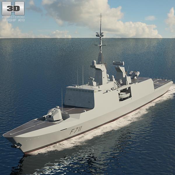 3D model of La Fayette class frigate
