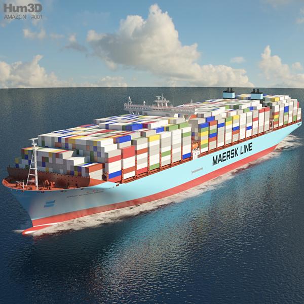 Maersk Triple Classe E container ship Modello 3D