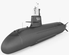 3D model of Soryu-class submarine
