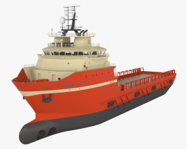 TIMBALIER ISLAND Offshore Supply Ship 3D model