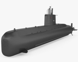 3D model of Type 209 submarine