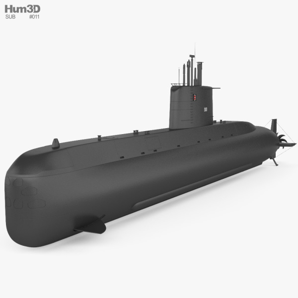 Type 209 submarine 3D model