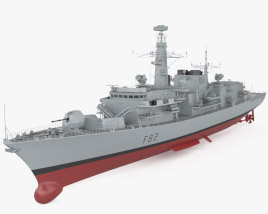 3D model of Type 23 frigate