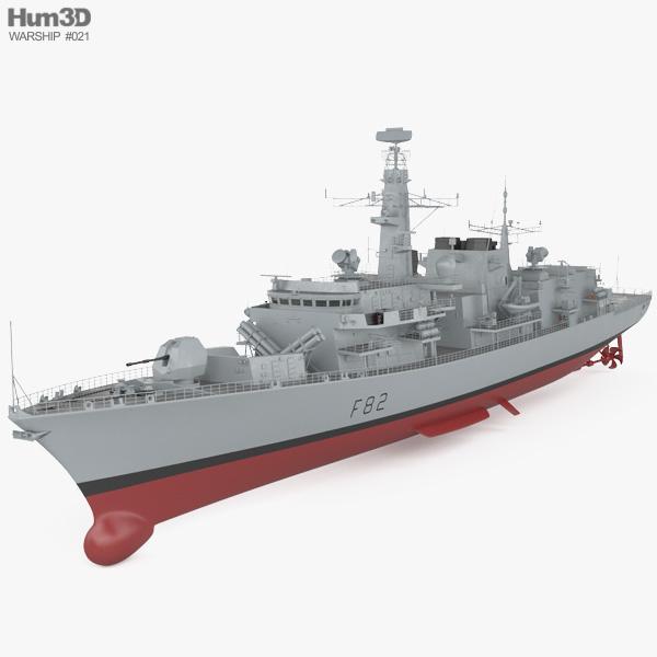 3D model of Type 23 frigate