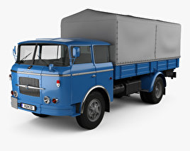 3D model of Skoda 706 RT Flatbed Truck 1957