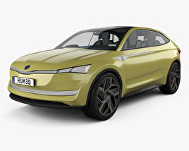 3D model of Skoda Vision E with HQ interior 2017