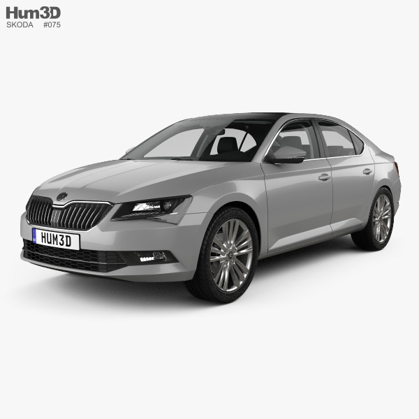 Skoda Superb liftback with HQ interior 2016 3D model