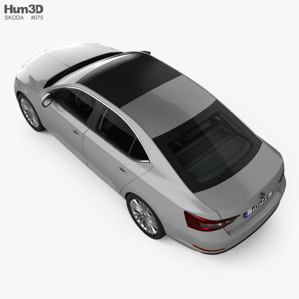 Skoda Superb liftback with HQ interior 2016 3D model
