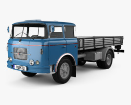 3D model of Skoda Liaz 706 RT Flatbed Truck 1957