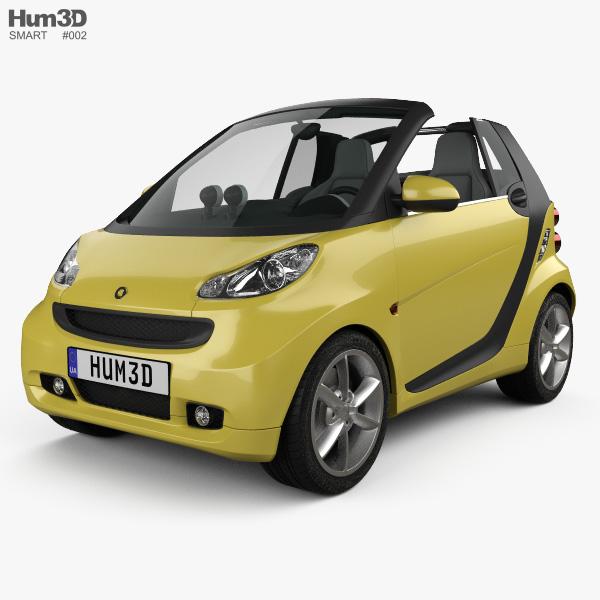 Smart Fortwo 2011 コンバーチブル Open Top 3Dモデル