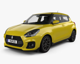 3D model of Suzuki Swift Sport with HQ interior 2017