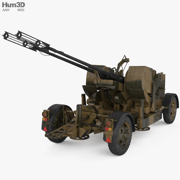 Oerlikon GDF 35 mm Twin Cannon 3D model