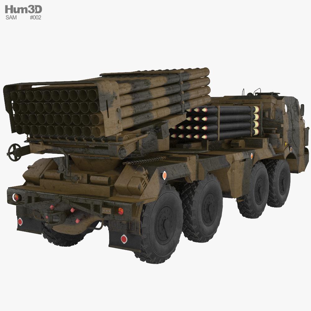 RM-70 multiple rocket launcher 3d model back view