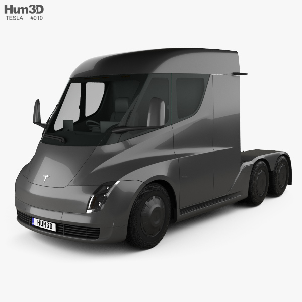 3D model of Tesla Semi Day Cab Tractor Truck 2018