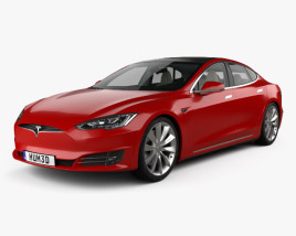 3D model of Tesla Model S with HQ interior 2016