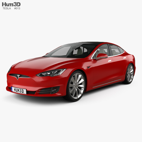 Tesla Model S with HQ interior 2016 3D model