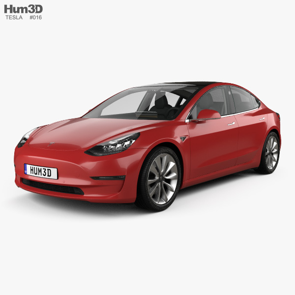 3D model of Tesla Model 3 with HQ interior 2018